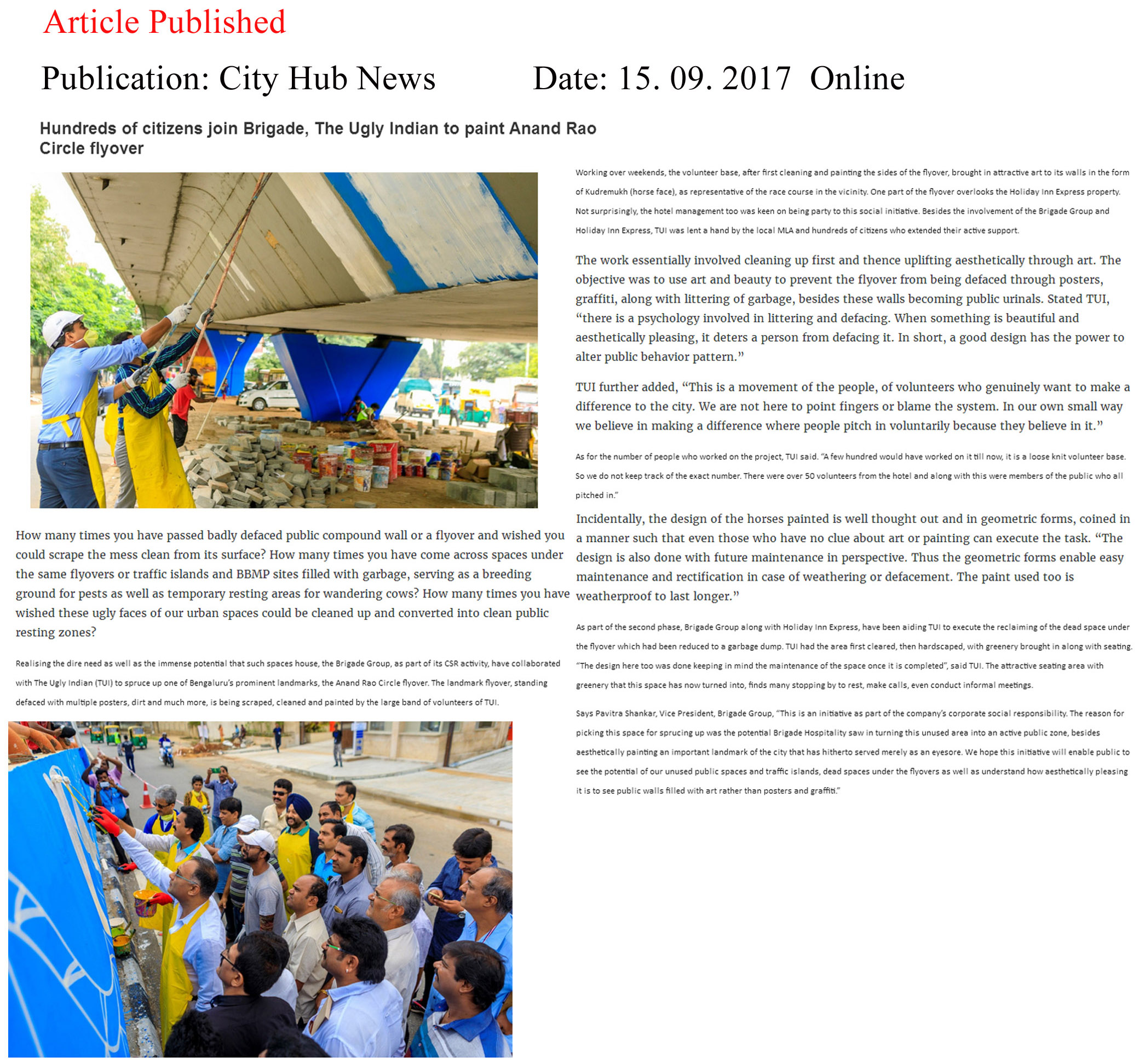 Hundreds of citizens join Brigade, The Ugly Indian to paint Anand Rao Circle flyover—City Hub News–Online