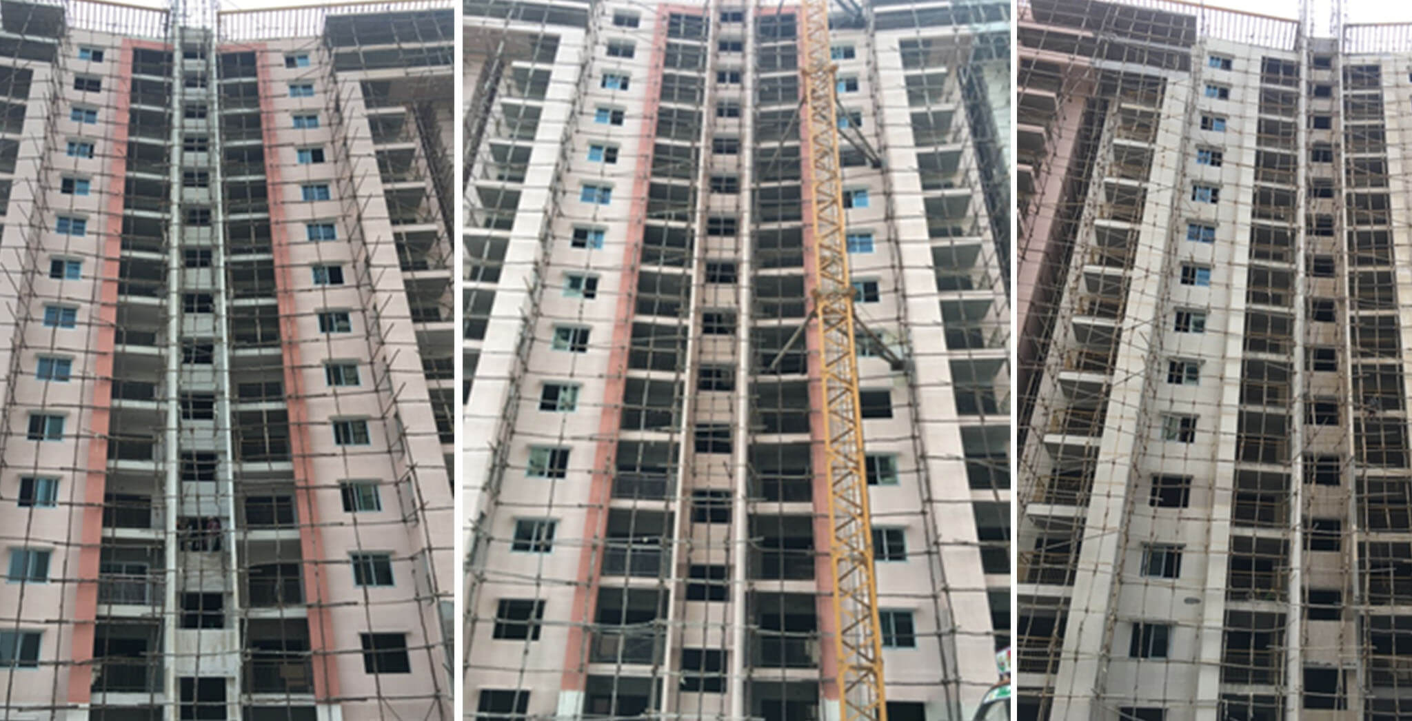 Crimson block—R, Q and P wing external painting in progress