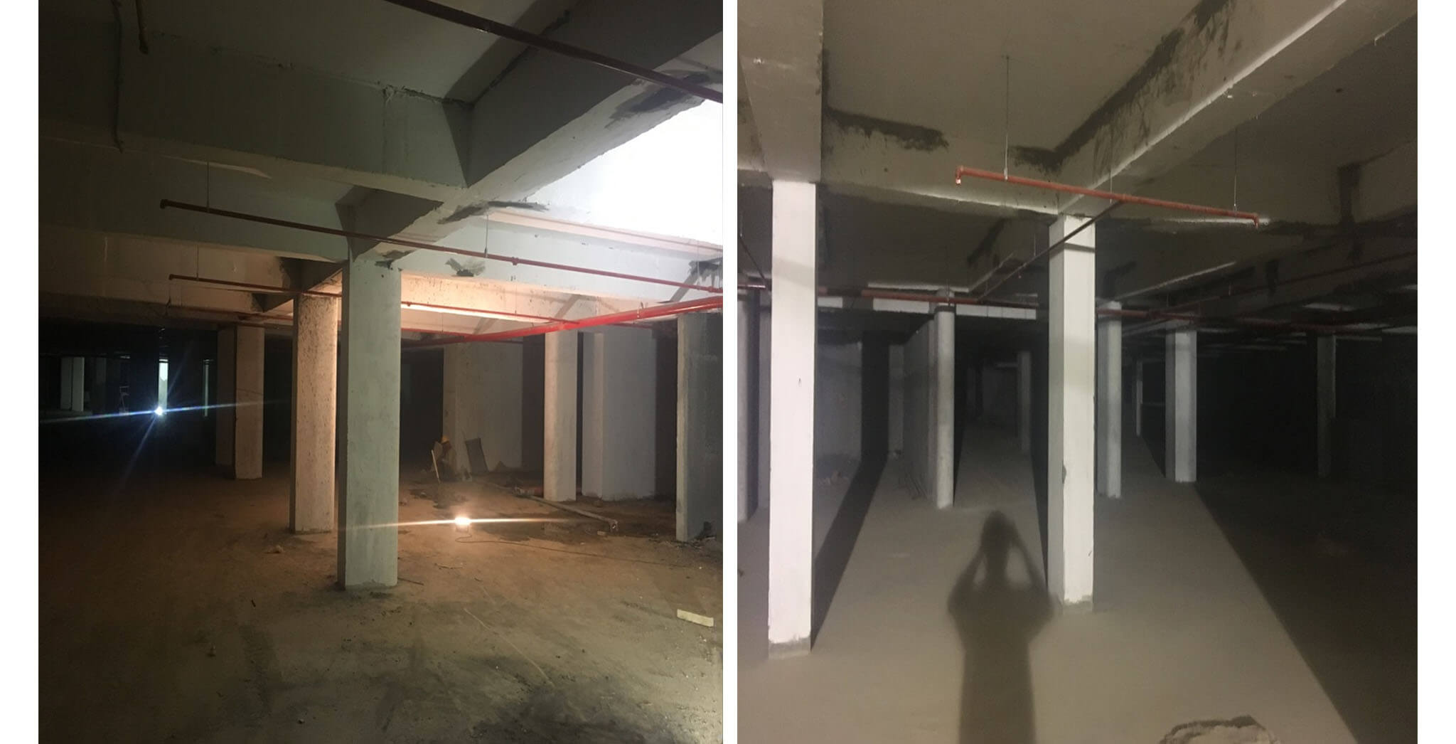 Crimson block—Lower basement fire work progress