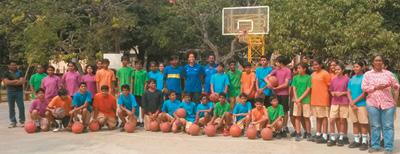 A visit by Junior NBA Basketball Coach
