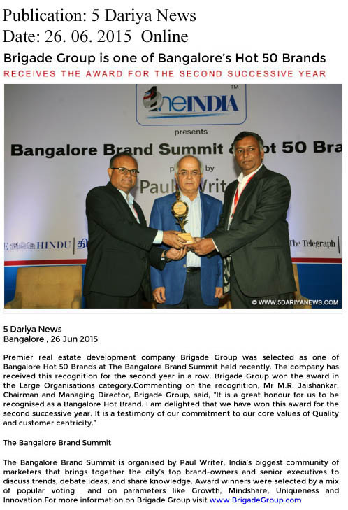 Brigade Group is one of Bangalore's hot 50 brands