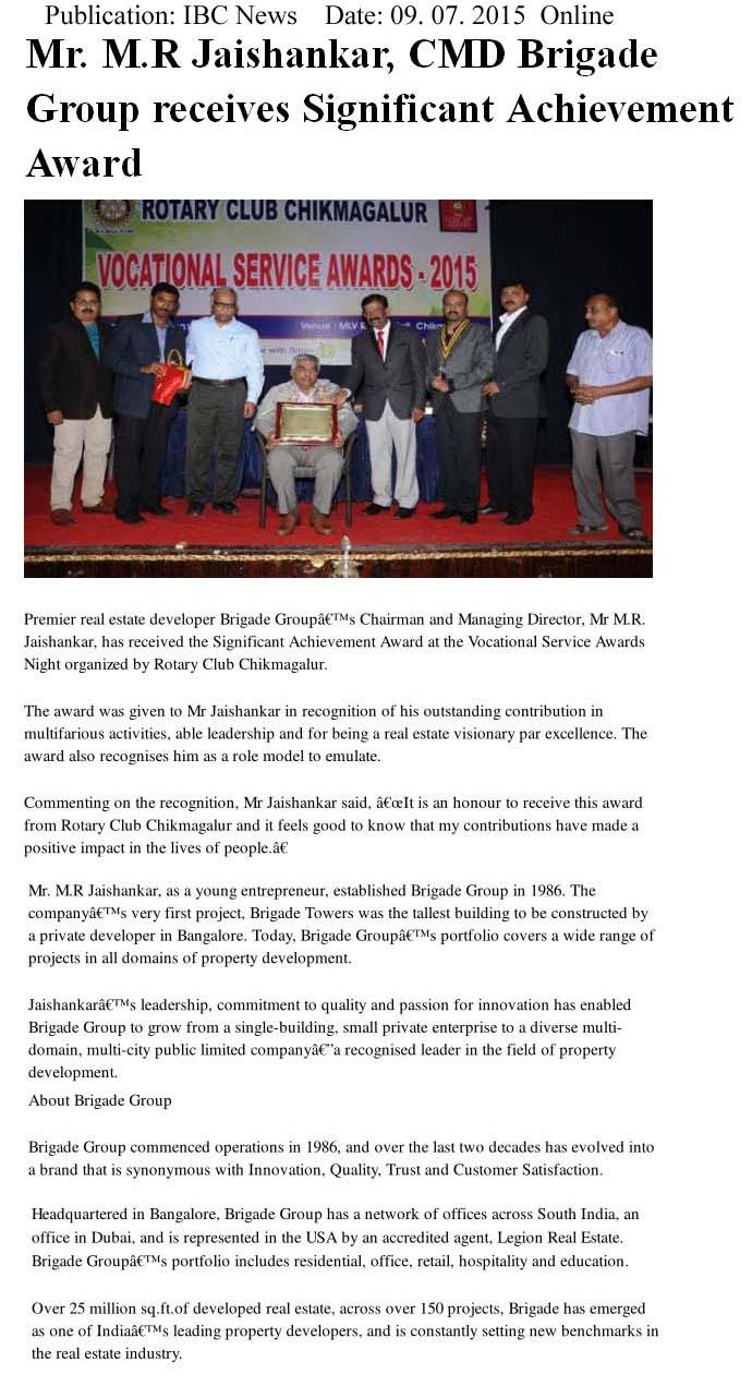 M.R Jaishankar CMD, Brigade Group receives Significant Achievement award