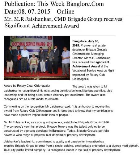 M.R Jaishankar CMD, Brigade Group receives Significant Achievement awards