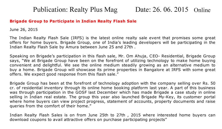 Brigade Group to participate in Indian Realty Flash Sales