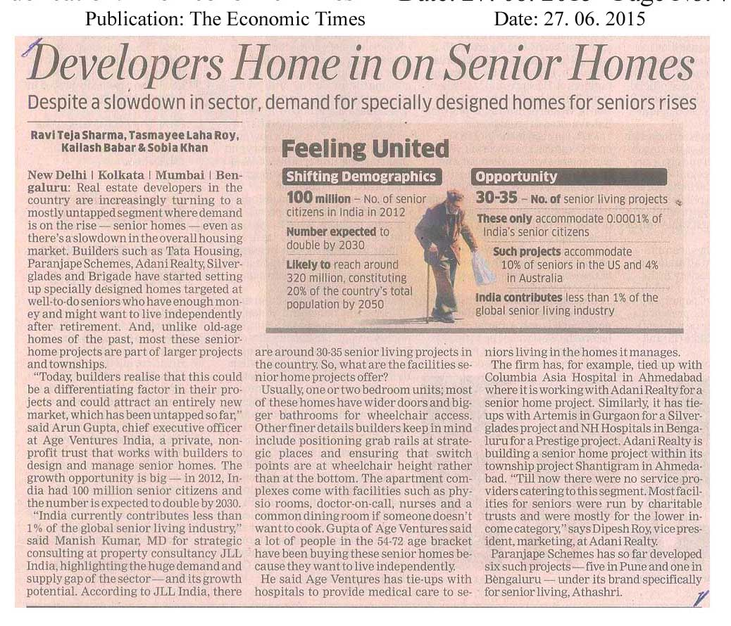 Real Estate Cos now homes in on Housing for seniors