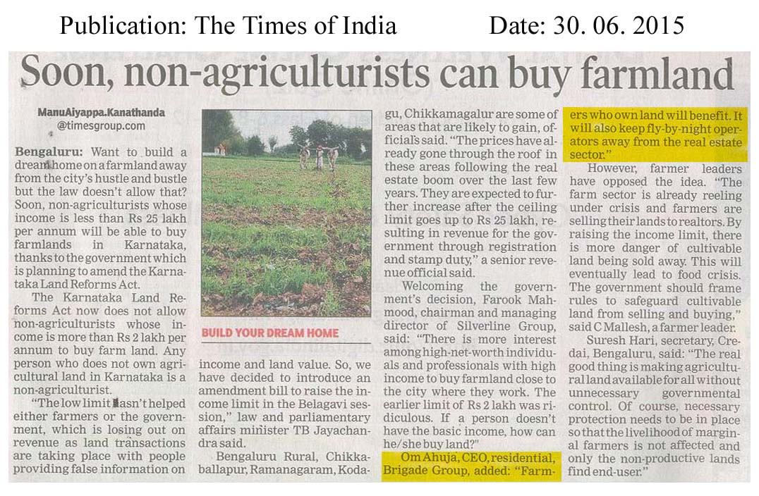 Soon, non-agriculturist can buy farm land