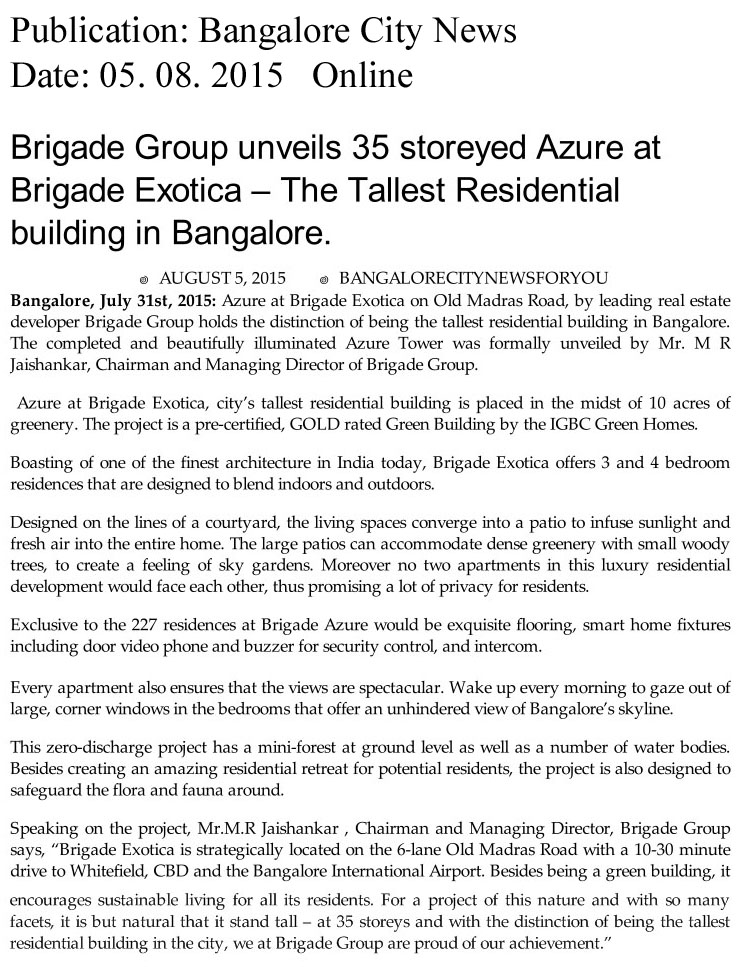 Brigade Group unveils 35 storeyed Azure at Brigade Exotica – The Tallest building in Bangalore