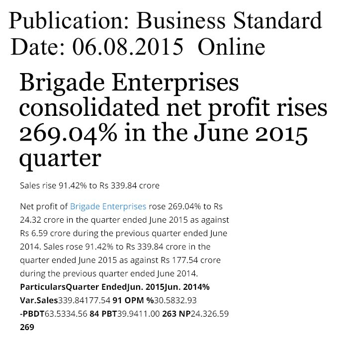 Brigade Enterprises consolidated net profit rises 269.04% in the June 2015 quarter