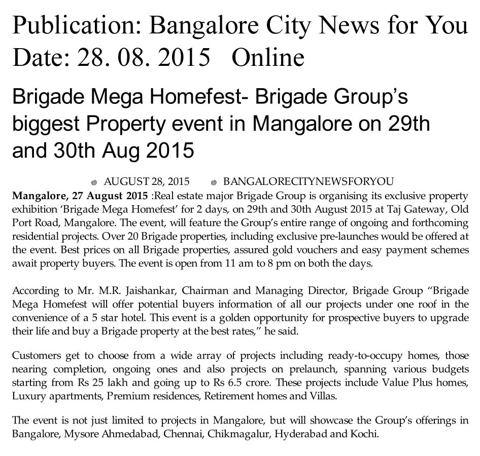 Brigade Mega Homefest-Brigade Group's biggest Property event in Mangalore on 29th and 30th Aug 2015