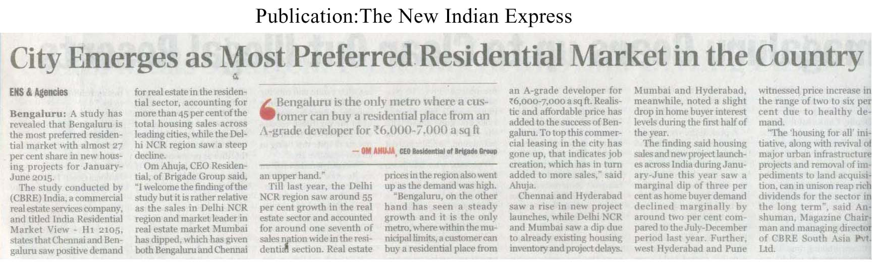City emerges as most preferred residential market in the country