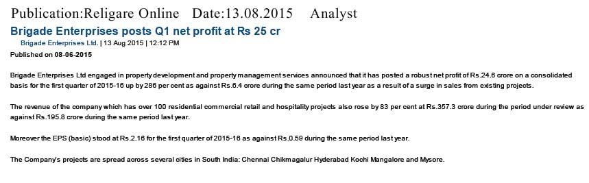Brigade Enterprises posts Q1 net profit at Rs 25 Cr