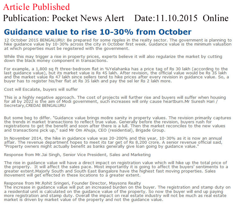 Guidance Value to rise 10-30% from October - Pocket News Alert