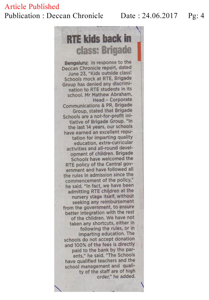 RTE students back to school: Brigade—Deccan Chronicle