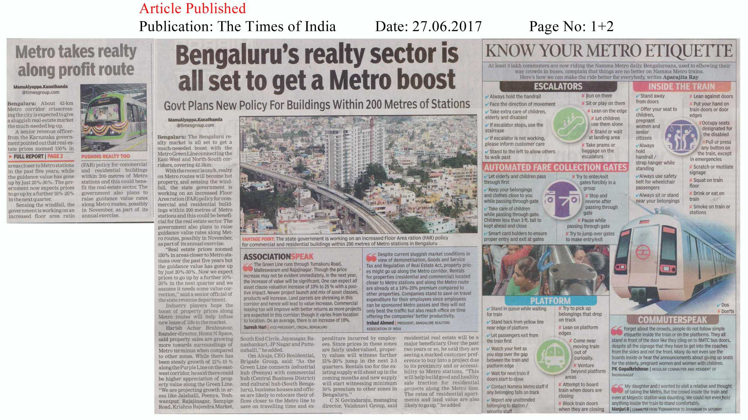 Bengaluru's realty sector is all set to get a Metro boost—The Times of India