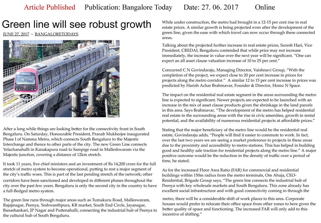 Green line will see robust growth—Bangalore Todays-Online