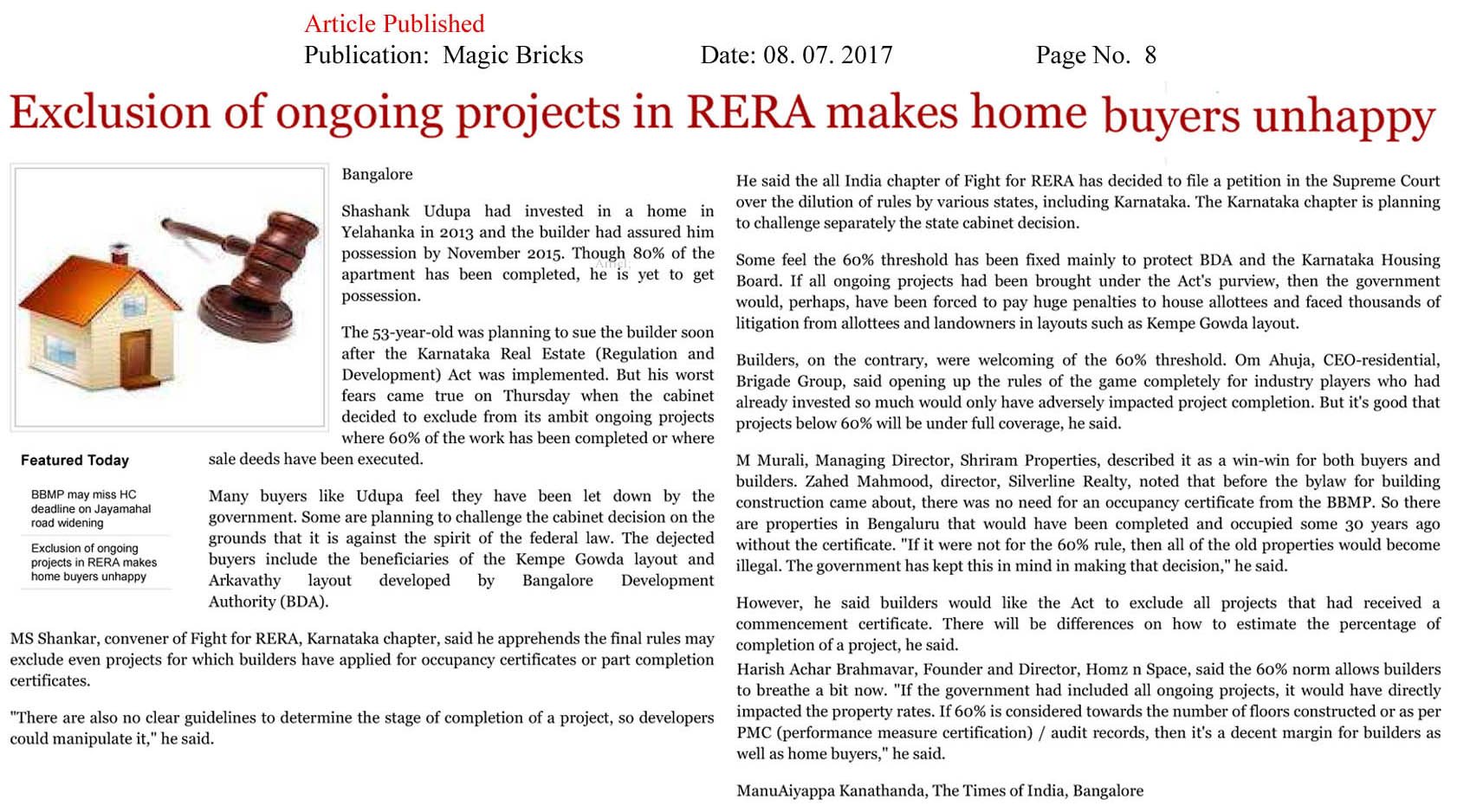 Exclusion of ongoing projects in RERA makes home buyers unhappy—Magicbricks–Online