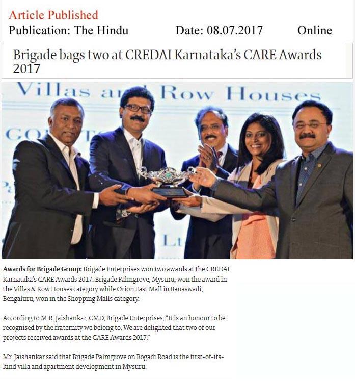 Brigade bags two at CREDAI Karnataka's CARE awards 2017—The Hindu Online