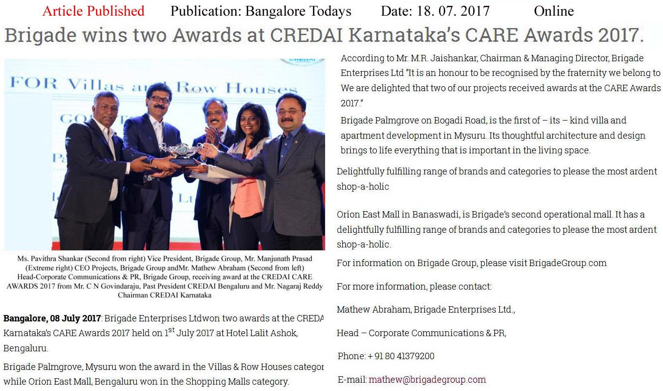 Brigade Wins Two Awards at CREDAI Karnataka's CARE awards- 2017—Bangalore Todays