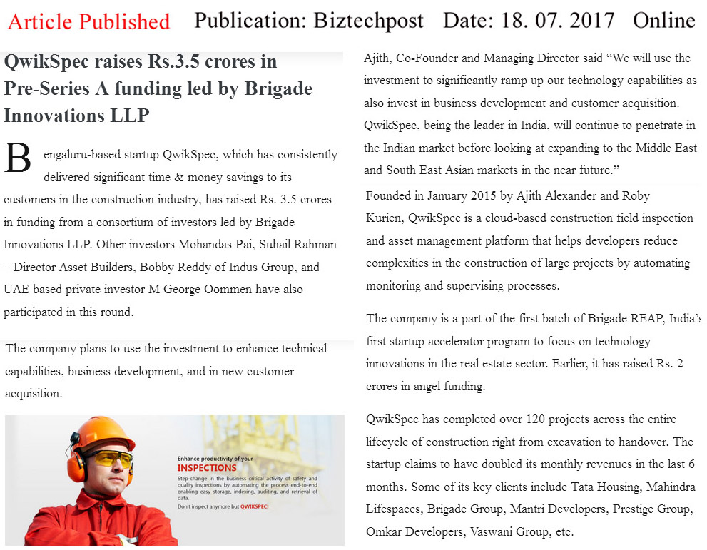 QwikSpec, raises Rs. 3.5 crores in Pre-Series A funding led by Brigade innovations LLP—Biztechpost-Qwickspec