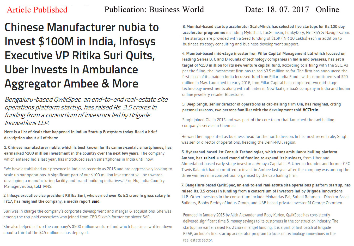 Chinese Manufacturer nubia to Invest $100M in India, Infosys Executive VP Ritika Suri Quits, Uber Invests in Ambulance Aggregator Ambee & More—Business World-Qwickspec