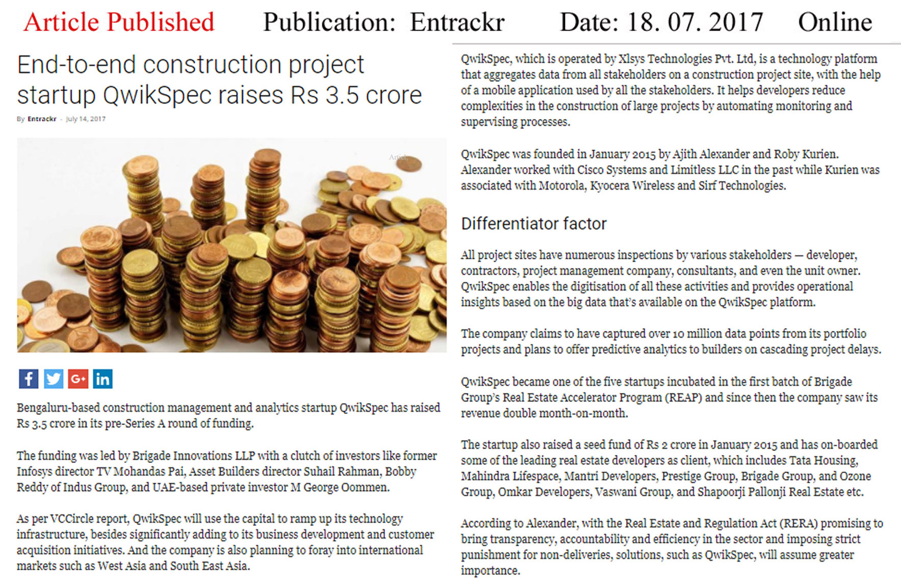 End-to-end Contraction projects Startups raises Rs. 3.5 crores—Entrackr