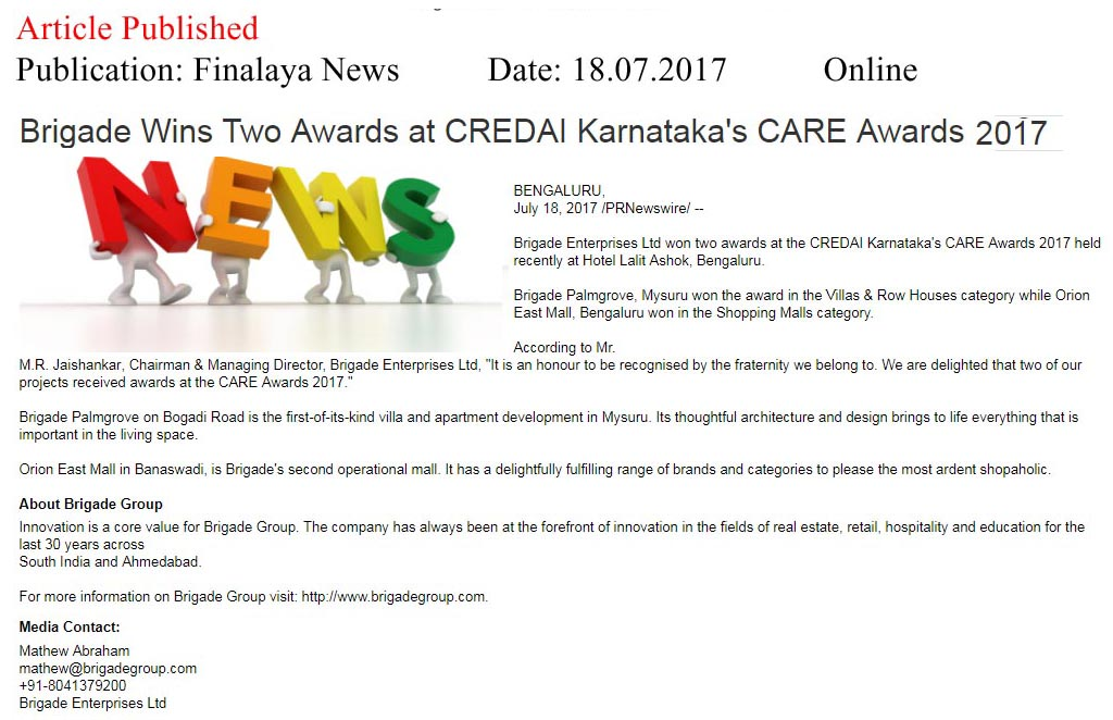 Brigade Wins Two Awards at CREDAI Karnataka's CARE awards- 2017—Finalaya News
