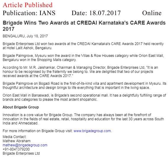 Brigade Wins Two Awards at CREDAI Karnataka's CARE awards- 2017—IANS