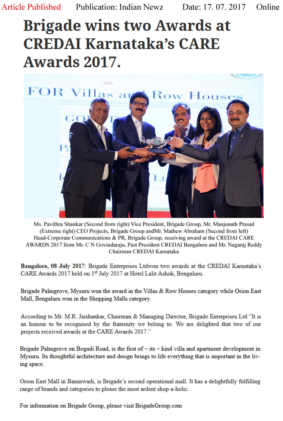 Brigade Wins Two Awards at CREDAI Karnataka's CARE awards- 2017—INDIAN NEWZ