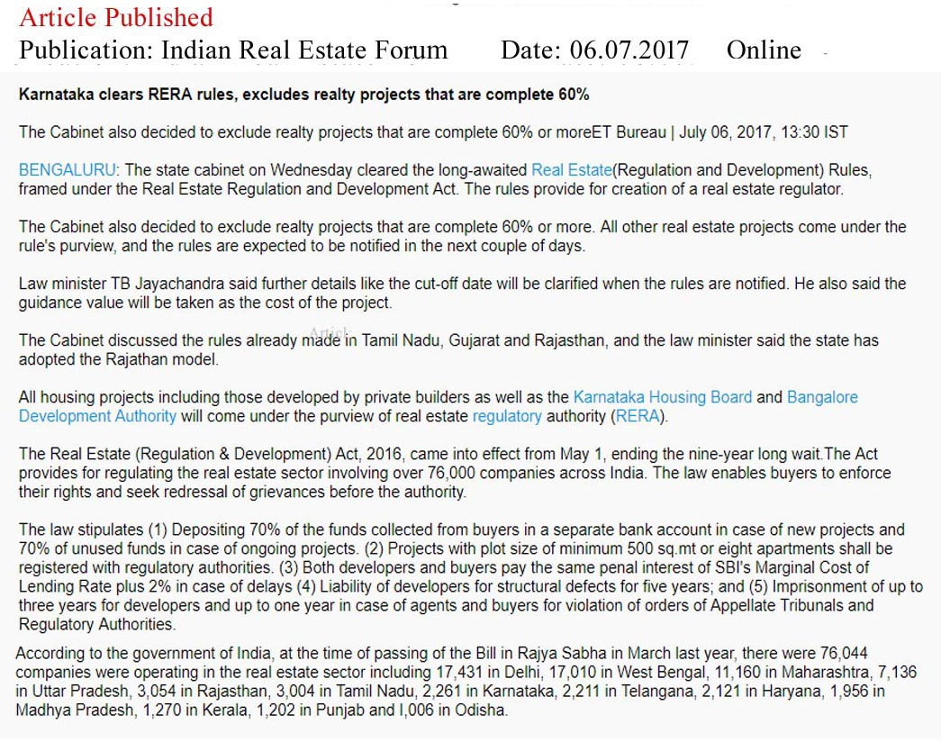 Karnataka clears RERA rules, excludes Realty Projects that are complete 60%—Indian Real Estate Forum
