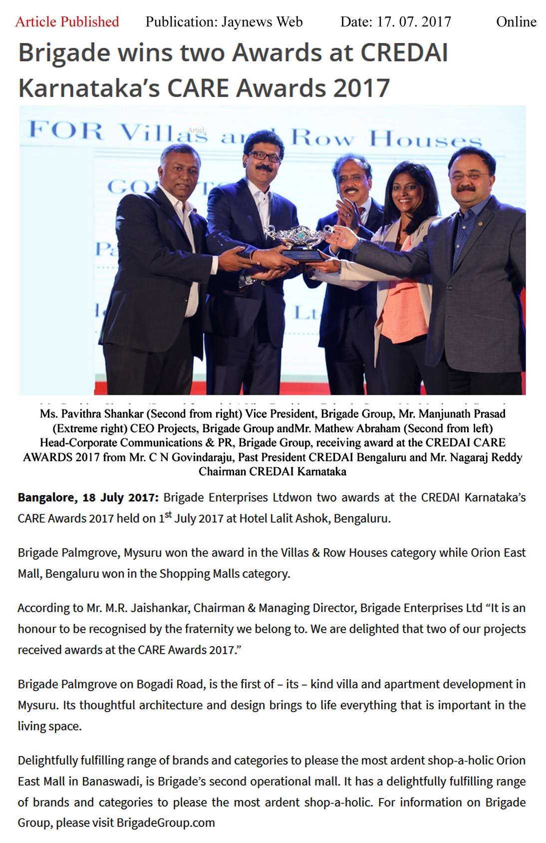 Brigade Wins Two Awards at CREDAI Karnataka's CARE awards- 2017—Jay newsweb