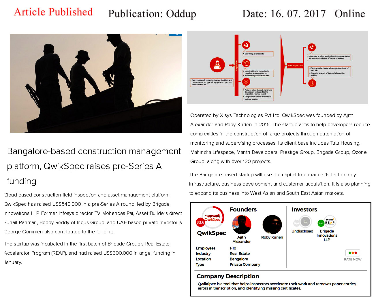 Bangalore–based construction Management Platform, QwikSpec raises Pre-Series A finding—Oddup-Qwickspec