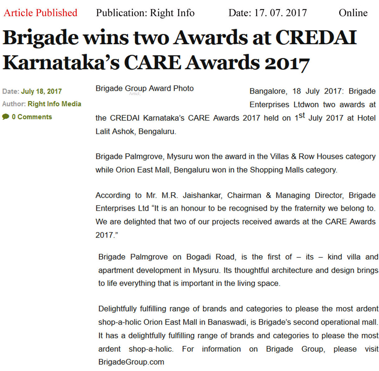 Brigade Wins Two Awards at CREDAI Karnataka's CARE awards- 2017—Right Info-Brigade Awards Online