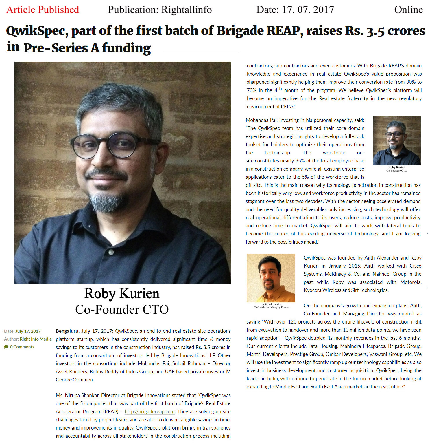 QwikSpec, part of the first batch of Brigade REAP, raises Rs. 3.5 crores in Pre-Series A funding—Right Info