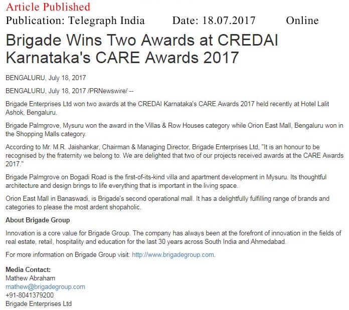 Brigade Wins Two Awards at CREDAI Karnataka's CARE awards- 2017—Telegraph India