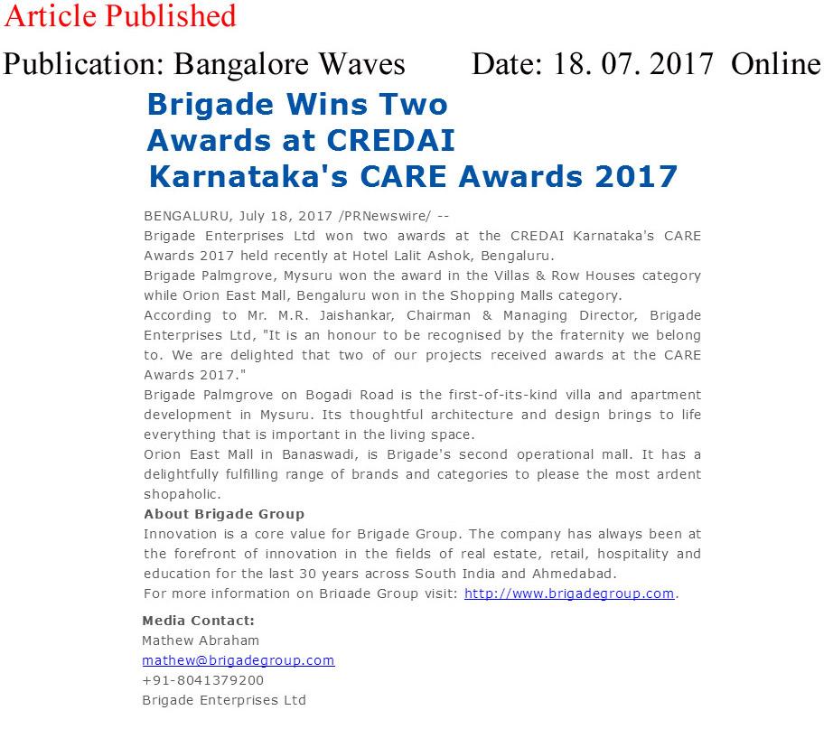 Brigade Wins Two Awards at CREDAI Karnataka's CARE Awards 2017—Bangalore Waves-Online