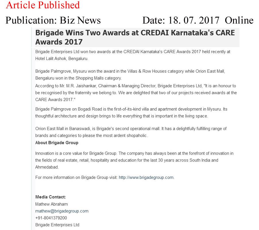 Brigade Wins Two Awards at CREDAI Karnataka's CARE Awards 2017—Biz News-Online