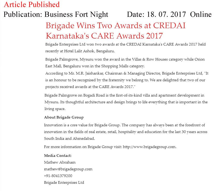 Brigade Wins Two Awards at CREDAI Karnataka's CARE Awards 2017—Business Fortnight-Online