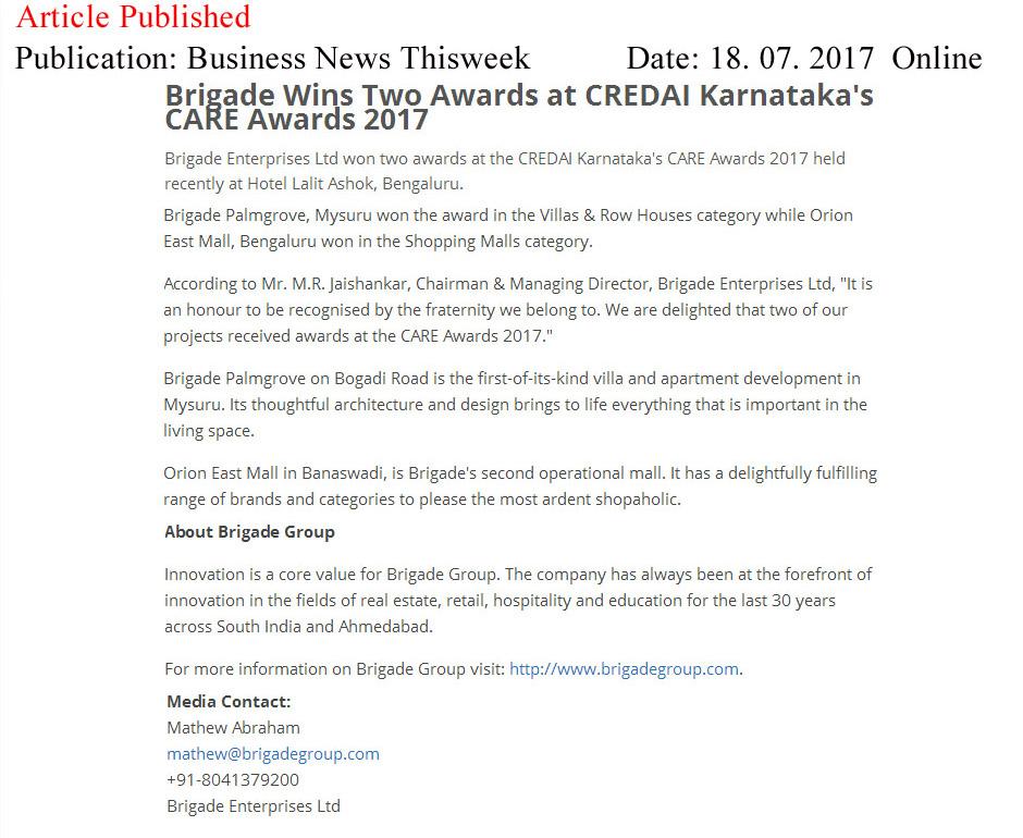 Brigade Wins Two Awards at CREDAI Karnataka's CARE Awards 2017—Business News This Week-Online