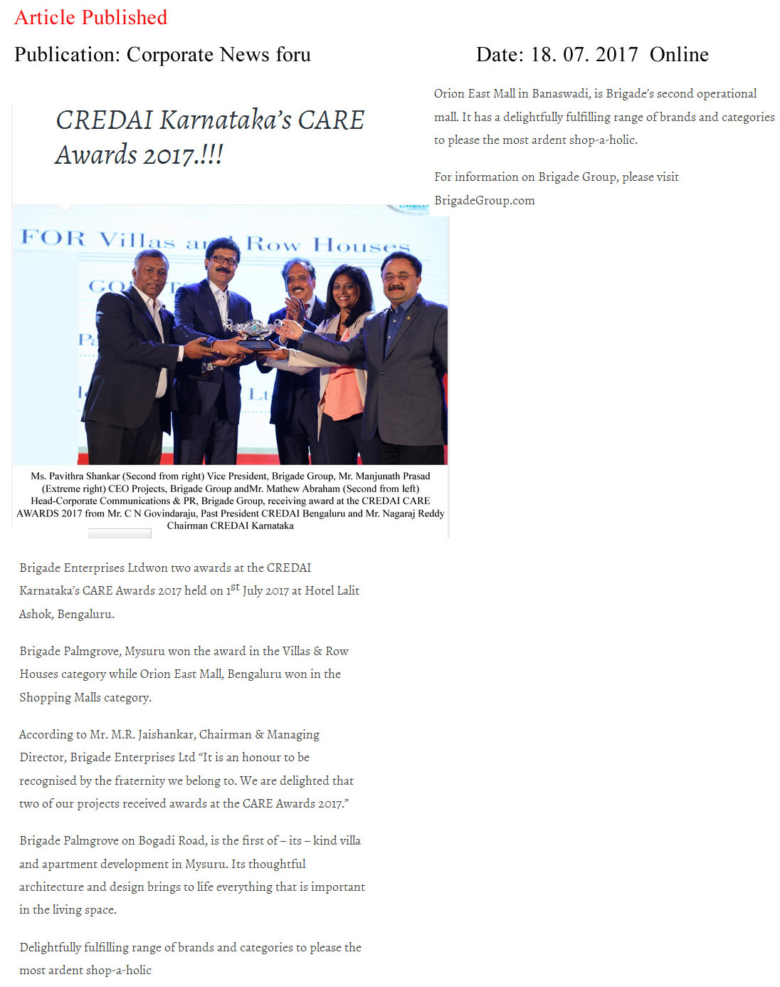 Brigade Wins Two Awards at CREDAI Karnataka's CARE Awards 2017—Corporate News for you-Online