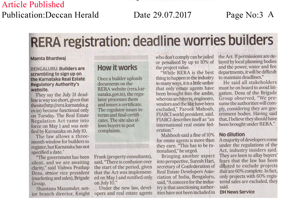 RERA registration: deadline worried builders—Deccan Herald