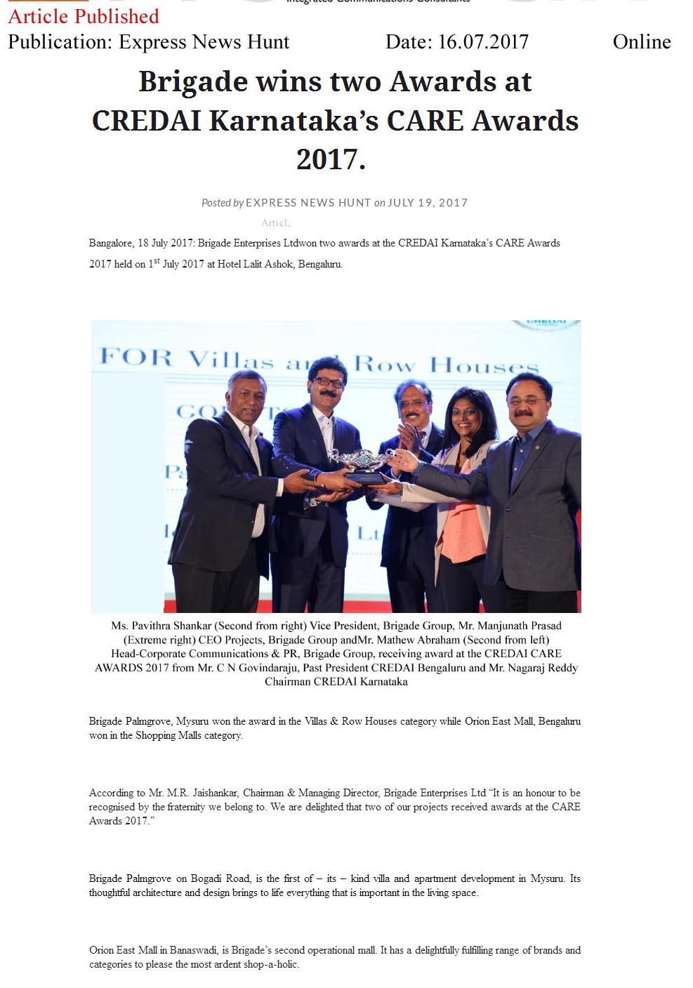 Brigade Wins Two Awards at CREDAI Karnataka's CARE Awards 2017—Express News Hunt-Online