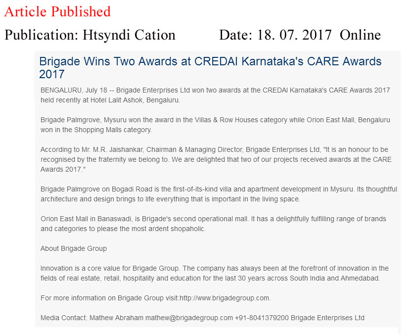 Brigade Wins Two Awards at CREDAI Karnataka's CARE Awards 2017—HT Media Syndication-Online