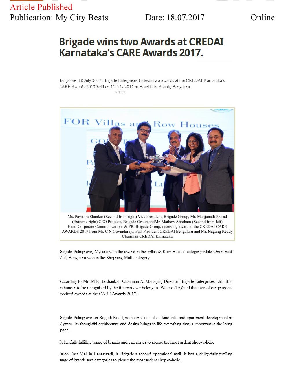 Brigade Wins Two Awards at CREDAI Karnataka's CARE Awards 2017—My City Beats-Online