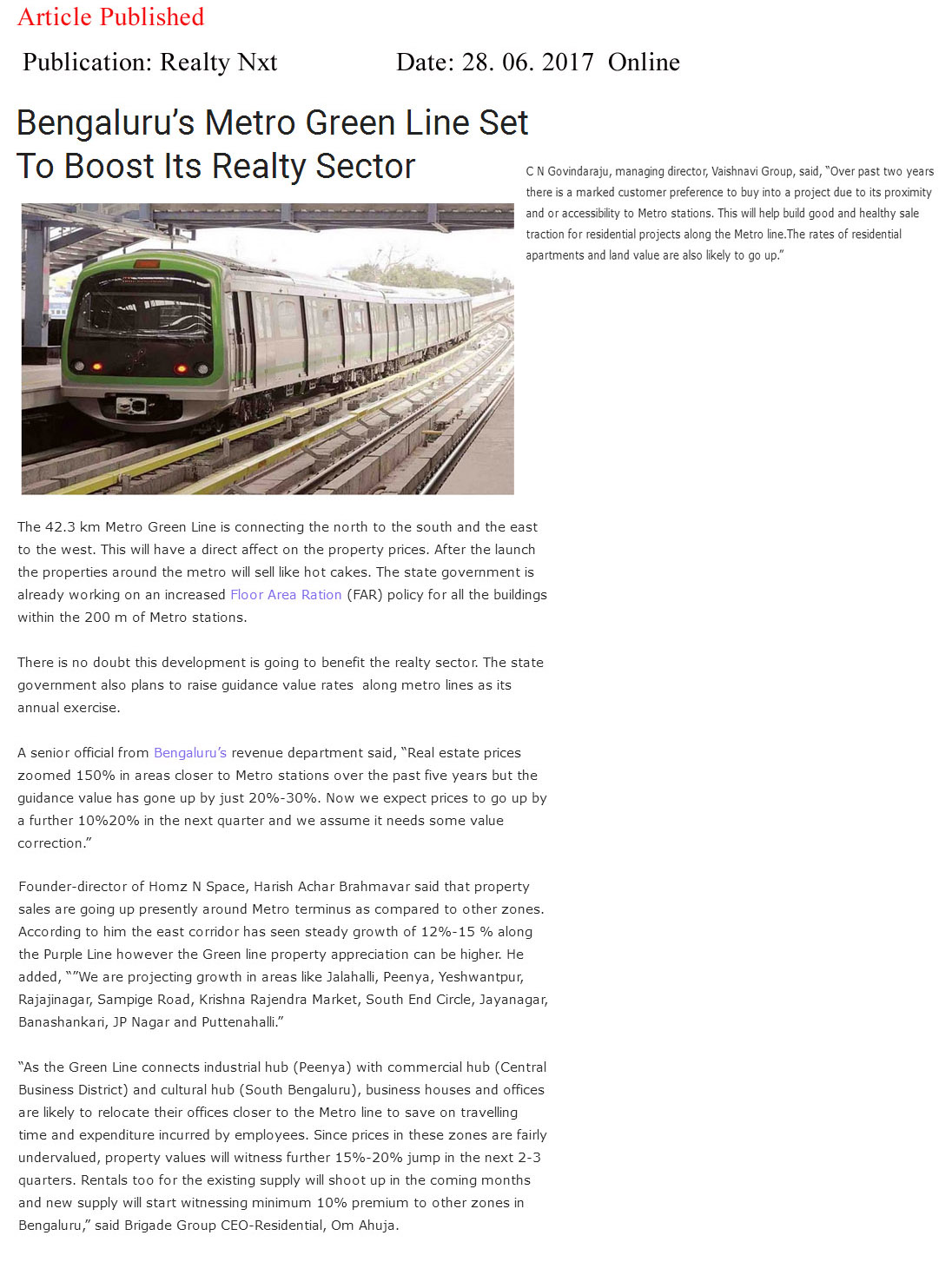 Bangalore's Metro Green line set to Boost Its Realty Sector—Realty Nxt-Online