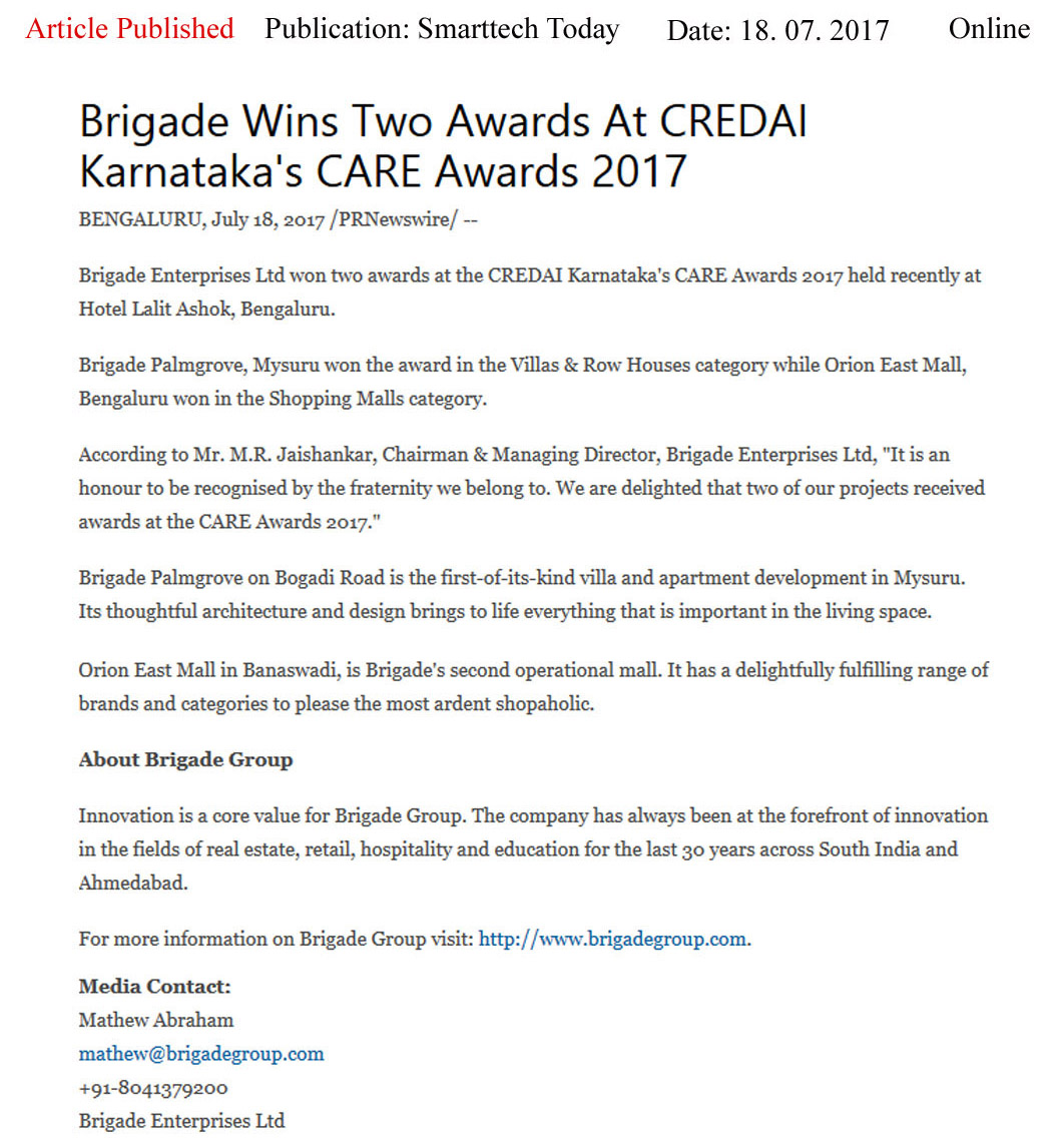 Brigade Wins Two Awards at CREDAI Karnataka's CARE Awards 2017—Smart Tech Today-Online
