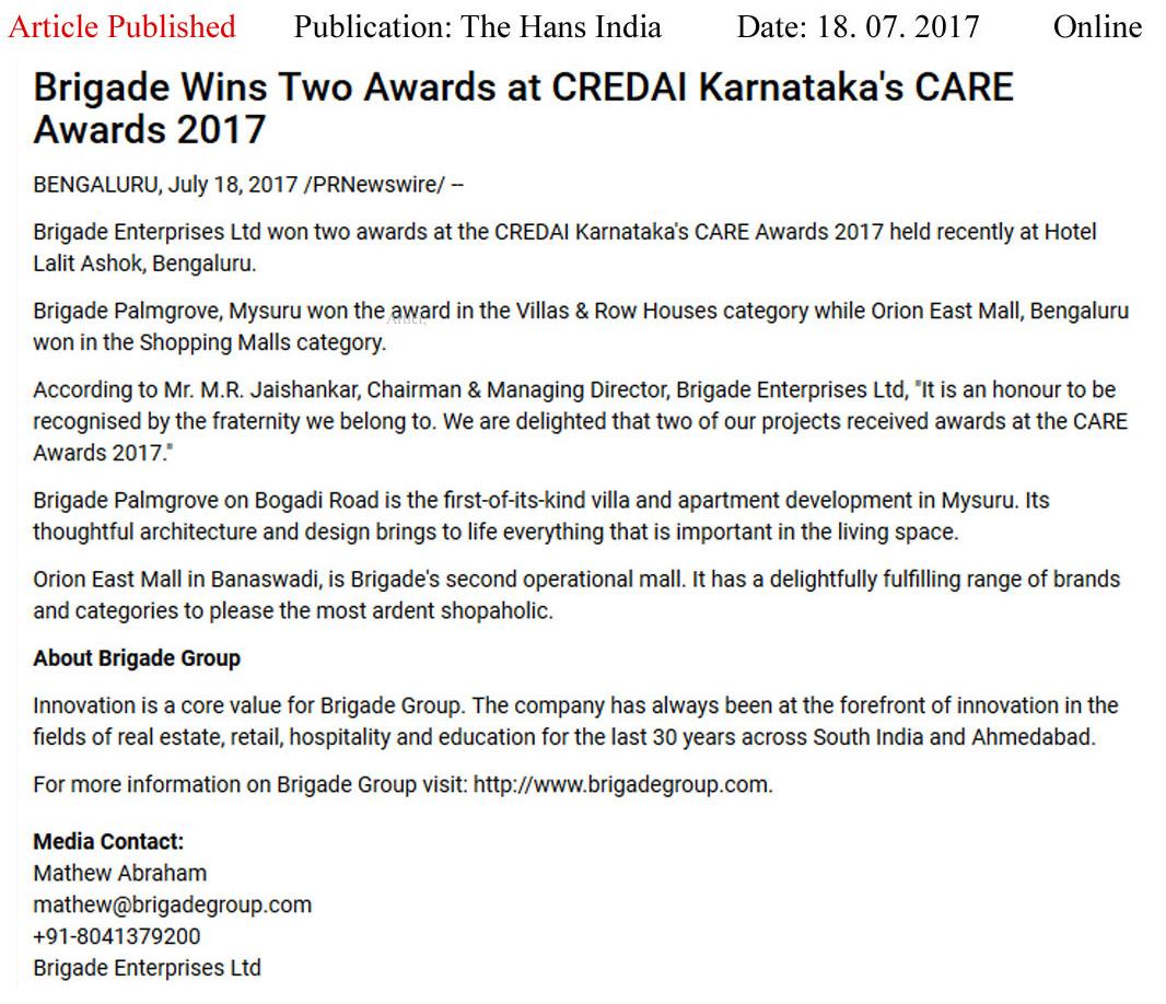 Brigade Wins Two Awards at CREDAI Karnataka's CARE Awards 2017—The Hans India-Online