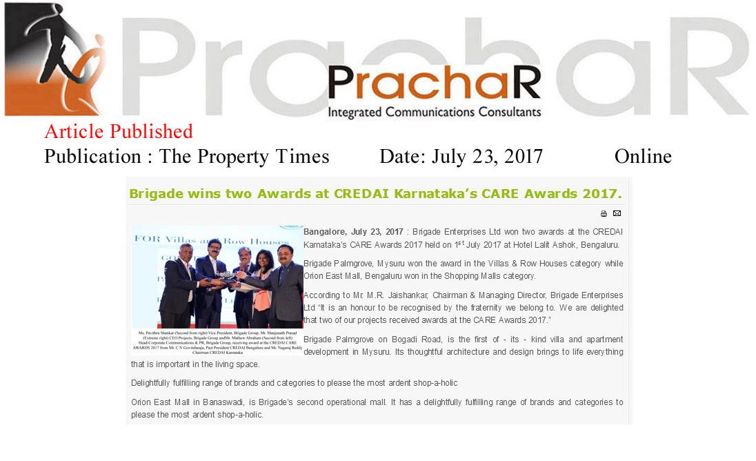 Brigade Wins Two Awards at CREDAI Karnataka's CARE Awards 2017—The Property Times-Online