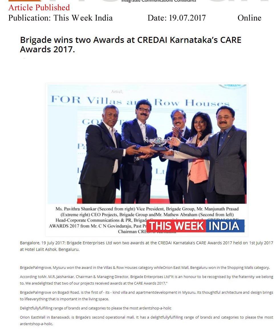 Brigade Wins Two Awards at CREDAI Karnataka's CARE Awards 2017—The Week India-Online