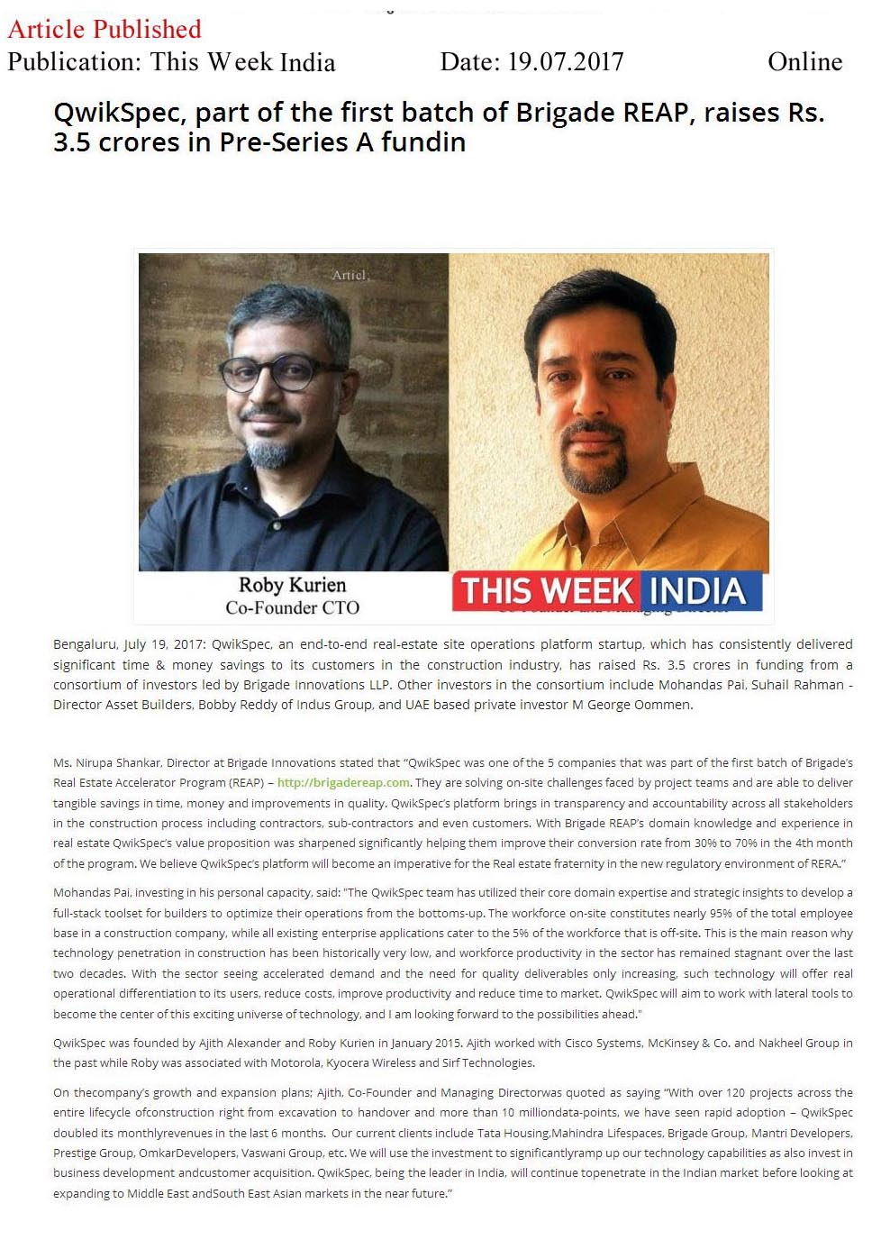 QwikSpec, A Real-Estate Site Operations Platform Startup, Raises Rs.3.5 Crores in Pre-Series A Funding—The Week India-Online