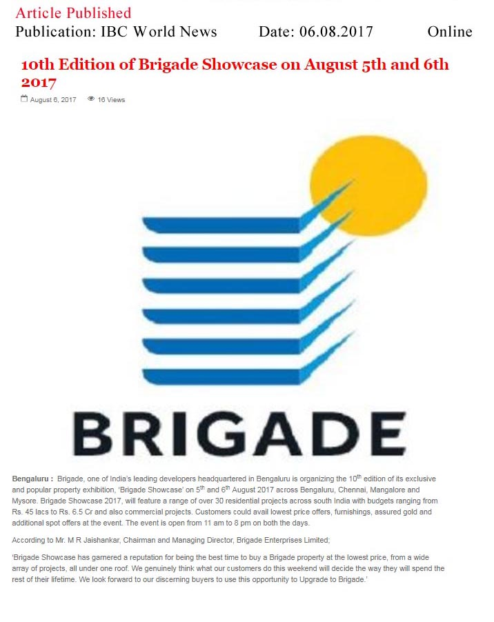 10th Edition of Brigade Showcase on August 5th and 6th 2017—IBC World News-Online
